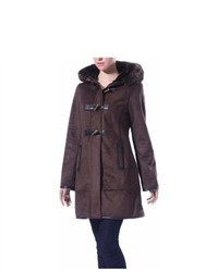 Phistic Faux Shearling Hooded Duffle Toggle Coat