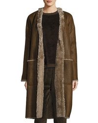 Reversible elongated reversible shearling coat medium 5277086