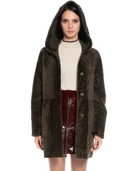Reversible hooded shearling coat medium 4417779