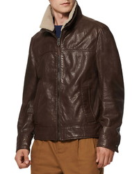 Andrew Marc Augustine Leather Jacket With Genuine Shearling Collar