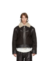 Lemaire Brown Shearling Aviator Jacket