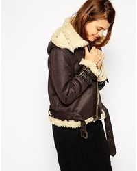 Asos Collection Jacket In Faux Shearling With Hood