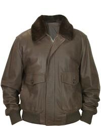 Forzieri Dark Brown Genuine Leather Bomber Jacket