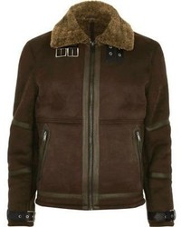 River Island Dark Brown Shearling Jacket