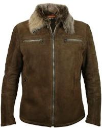 Forzieri Dark Brown Shearling Jacket Wfur Collar