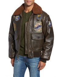 Schott NYC Genuine Shearling Collar G 1 Flight Jacket