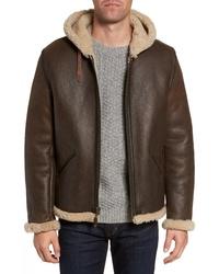Schott NYC Genuine Shearling Vintage B 6 Hooded Bomber Jacket