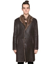 John Varvatos Leather Coat With Shearling Interior