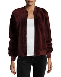 Silky merino shearling bomber jacket brown medium 4948834
