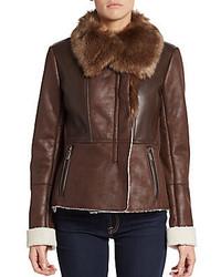T Tahari Ava Faux Fur Trimmed Moto Jacket