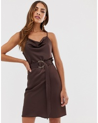 River Island Slip Dress With Belt In Chocolate