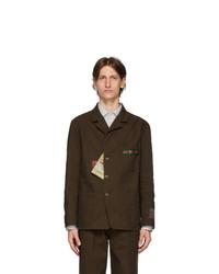Gucci Brown Cotton Cardboard Labels Jacket