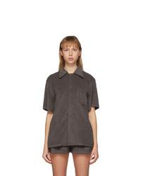 Dark Brown Short Sleeve Button Down Shirt