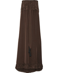 See by Chloe See By Chlo Off The Shoulder Ruffle Trimmed Silk Dress Dark Brown