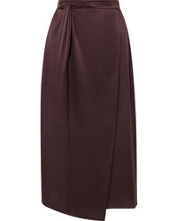 Vince Knotted Wrap Effect Silk Satin Midi Skirt