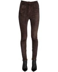 Skinny high waist stretch suede pants medium 4417691