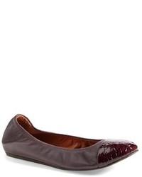 Dark Brown Snake Leather Ballerina Shoes