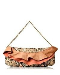Vintage Reign Leather Snake Embossed Ruffle Clutch