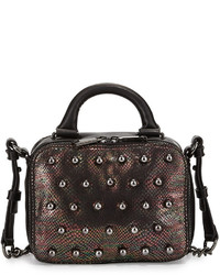French Connection Vinny Studded Snake Print Crossbody Bag Oil Slick Snakeblack