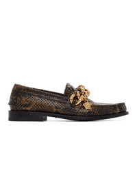Versace Brown Snake Medusa Chain Loafers