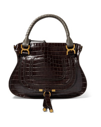 Chloé Marcie Large Croc Effect Leather Shoulder Bag