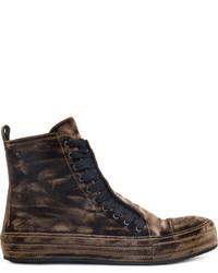 Ann Demeulemeester Velvet Hi Top Sneakers