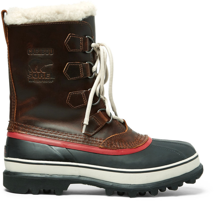 Caribou Faux Shearling-trimmed Waterproof Leather And Rubber Snow Boots Sorel Affordable For Sale Classic Bulk Designs Lra1ku