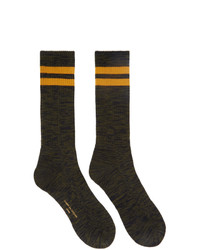 Comme des Garcons Homme Khakiand Navy Paralleled Socks