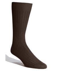 Pantherella Cotton Blend Mid Calf Dress Socks Dark Brown 08 Large