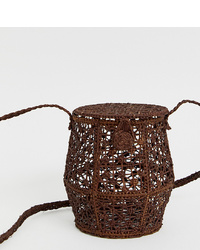 Kaanas Raffia Honey Pot Cross Body Bag In Cocoa
