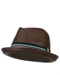 Jeanne Simmons Paper Woven Straw Fedora Brown W19s59b