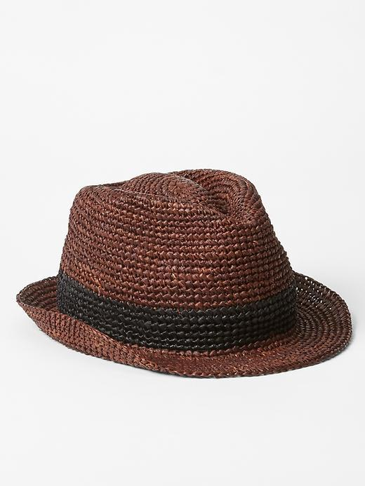 Raffia Fedora. Dark Brown Straw Hat by Gap bfb0a27b368