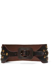 Dark Brown Studded Leather Belt