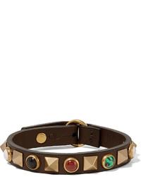 Valentino Studded Leather Bracelet Chocolate