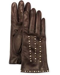 Portolano Studded Leather Gloves Chocolate