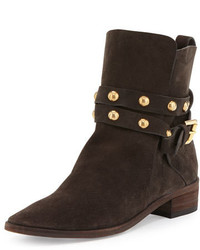 Dark Brown Studded Suede Ankle Boots