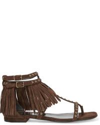 Saint Laurent Studded Fringed Suede Sandals Dark Brown