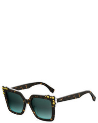 Fendi Can Eye Two Tone Studded Square Sunglasses