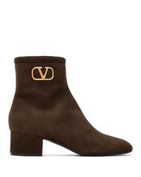 Valentino Brown Garavani Vlogo Boots