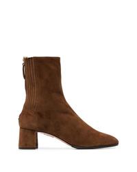 Aquazzura Camel Brown Saint Honore 50 Suede Ankle Boots