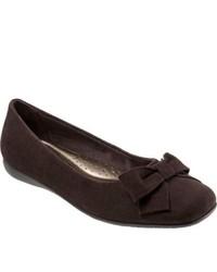 Trotters Sonia Dark Brown Kid Suede Ornated Shoes