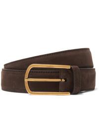 Brunello Cucinelli 35cm Dark Brown Suede Belt
