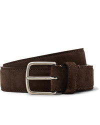 The Row 3cm Dark Brown Suede Belt