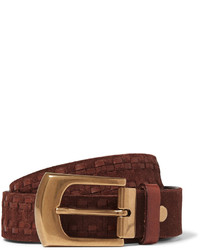 Brunello Cucinelli 4cm Brown Leather Trimmed Suede Belt