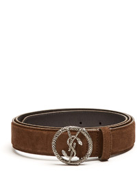 dccdb9ce308 ... Saint Laurent Monogram Round Snake Buckle Suede Belt
