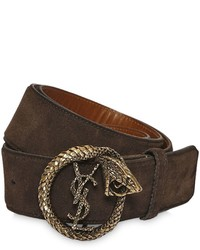Saint laurent 40mm serpent monogram suede belt medium 675748