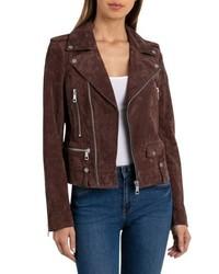 Dark Brown Suede Biker Jacket