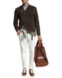 Brunello Cucinelli Asymmetric Zip Suede Moto Jacket Brown