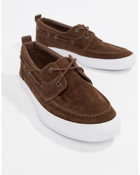 ASOS DESIGN Boat Shoes In Brown Faux Suede