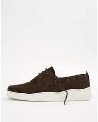 ASOS DESIGN Boat Shoes In Brown Suede With White Sole